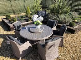 rattan round garden table set teak