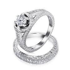 1 5 Ct Cz Sterling Silver Vintage Engagement Wedding Ring Set