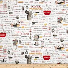 Kiss The Cook Kitchen Decor Kiss The Cook Recipes White Discount Designer Fabric Fabriccom