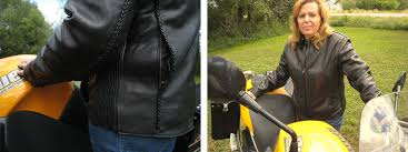 fox creek womans all season leather motorcycle jacket braided piping and rear vents