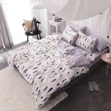 king size duvet sets. Feather Print Duvet Cover Set Bedlinens 100% Cotton Twin Queen King Size Bedding Sheets Sets