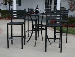 ansley luxury 4 person all welded cast aluminum patio furniture bar height set w 36 square bar table