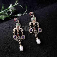 unique multi colored chandelier earrings fashion resin acrylic pearl vintage earrings