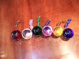 coloured round chandelier drops
