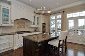 Classy Antique White Cabinets With Cool Dark Wooden Bar Island With