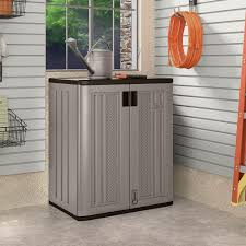 Outdoor Storage Cabinets With Doors Suncast 30 In X 36 In 2 Shelf Resin Base Storage Cabinet In
