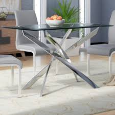 Glass top for table Dining Table Coraline Glass Top Modern Dining Table Wayfair Glass Kitchen Dining Tables Youll Love Wayfair