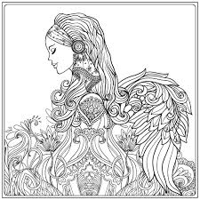 Beautiful Angel Coloring Page Zentangles Adult Colouring