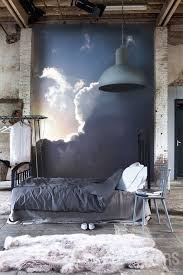 View In Gallery Urban Bedroom With A Cloud Mural