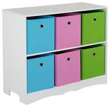 Storage Shelf with 6 Bins Contemporary Kids Storage Benches