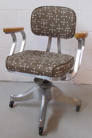 Gray swivel office chair 75 vintage wooden Bankers We Tried Bunch Of Different Things That Were Nice Enough But When She Put This Eames small Dot Fabric Next To The Metal And Wood We Both Went aaah City Liquidators Vintage Shawwalker Office Chair Modern Chair Restoration