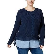 Tommy Hilfiger Womens Plus Size Cotton Side Tie Woven Hem Sweater