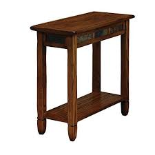 small chairside table. Modern Rustic Narrow Nightstand Durable Wooden Brown With Slate Throughout Small Chairside Table Plan 17