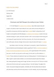 Eng 101 Essay 3 Joan Didion Self Respect Professor Bahr