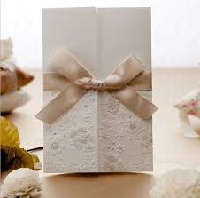 New Arrival Wedding Cards 2016 Cheap Vintage Embossed Tri Fold