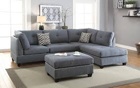 In the living room she chose a. Amazon Com 3 Pieces Sectional Sofa Bobkona Blue Grey Polyfiber Sofa Reversible Left Or Right Hand Chaise Sectionals Living Room Furniture Kitchen Dining
