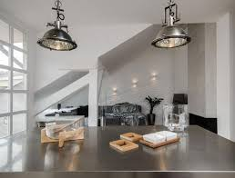 elegant furniture and lighting. Furniture:Elegant Silver Industrial Iron Pendant Lamps On Modern Kitchen Islands With Glossy Concrete Countertop Elegant Furniture And Lighting
