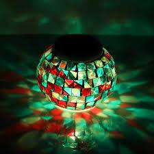 Solar Powered Mosaic Glass Ball Light Led Led Garden