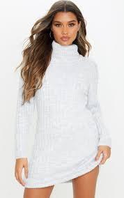 Light Grey Jumper Dress Light Grey Chunky Knitted Jumper Dress
