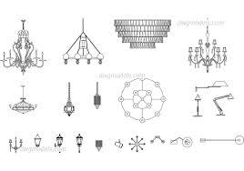 lamps chandeliers dwg cad blocks free