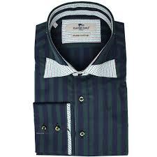 Cheap Mens Designer Shirts Claudio Lugli Green Double Collar Striped Mens Shirt