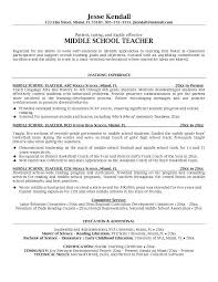 Example Middle School Teacher Resume Free Sample Teacher Resumes