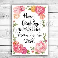 Happy Birthday Card For Mom Watercolor Peonies Printable Diy
