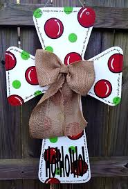 wooden cross door hanger love this one really you could probably paint both sides and have door knob hangers photo wooden tree