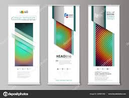 Flyers Flag Roll Up Banner Stands Abstract Geometric Style Templates