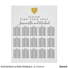 15 Table Seating Chart Gold Foil Heart 15 Table Wedding Seating Chart Zazzle Com