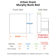 standard wall beds. urban stack murphy bunk bed dimensions standard wall beds