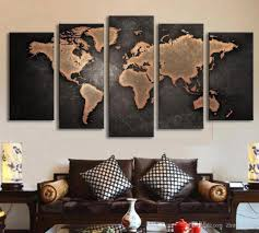 5 panel large hd printed oil painting world map canvas print art home decor wall art picture for living room graffiti spray paint illidan girl room  on world map wall art with photo frames with 5 panel large hd printed oil painting world map canvas print art