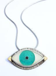 custom made celebrity style evil eye necklace statement artisan jewelry enamel evil eye jewelry