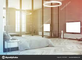 Schlafzimmer Innenraum Fernseher Getönten Grau Stockfoto