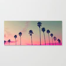 pink sunset palm tree silhouette encinitas california surfer canvas print