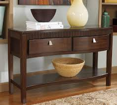 foyer table with storage. Brown Wooden Foyer Console Table With Curved Drawer And Open Shelf Storage Basket