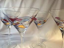 amazing romania milano crystal martini glasses multi color stained glass design vintage hand crafted blown romanian