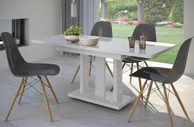 Säulentisch Hochglanz Weiß 110 Cm Edler Esstisch Ausziehbar Holz