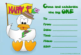cute kids birthday invite with a duckling holding a birthday flag and a present