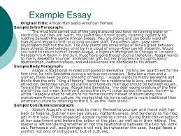 how to write paragraph essays mr welch intro paragraphs vs  41 example essay original title african man seeks american female sample intro paragraph the mud huts carved out of the jungle around you have no running