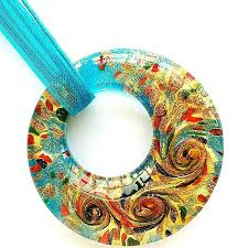 details about gold foil circle aqua handmade lampwork murano glass bead pendant necklace cord