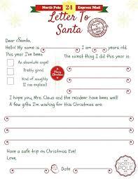 Letter To Template Kids Dear Preschool Santa Free Uk