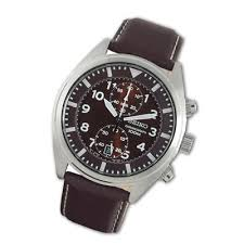 seiko watches trends men s seiko chronograph brown leather strap watch brown dial model snn241