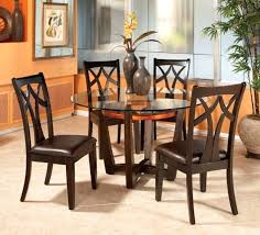 round glass top dining table set w 4 wood back side chairs kitchen sets for 42 inch 2