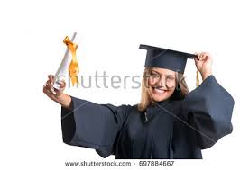 happy female student graduate standing university stock photo  happy graduate student holding a diploma isolated on white background