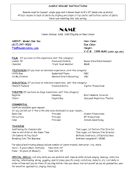 Acting Resume Example Professional How To Write An Agency Cover