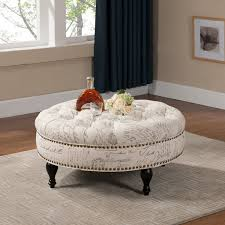 Round Ottoman Coffee Table | Leather Tufted Ottoman | Round Leather Storage  Ottoman Coffee Table