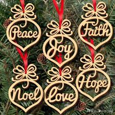 Weihnachten Brief Holz Herz Blase Muster Ornament Christbaumschmuck Home Festival Ornamente Hängen Geschenk 6 Teile Satz