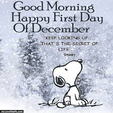 Good Morning December Quotes Best of Good Morning Happy First Day Of December Snoopy Quote Pictures