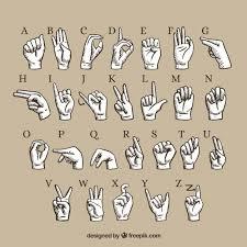 Hand Gesture Language Alphabet Vector Free Download